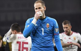 epa08011089 Hungary's goalkeeper Peter Gulacsi reacts after the UEFA EURO 2020 group E qualifying soccer match between Wales and Hungary at Cardiff City Stadium in Cardiff, Wales, Britain, 19 November 2019 (issued 20 November 2019). Wales won 2-0.  EPA/TAMAS KOVACS HUNGARY OUT