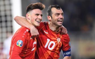 epa07454254 Elif Elmas (L) and Goran Pandev (R) of North Macedonia celebrate the 2-0 during the UEFA EURO 2020, Group G qualifying soccer match between North Macedonia and Latvia, in Skopje, North Macedonia, 21 March 2019.  EPA/GEORGI LICOVSKI