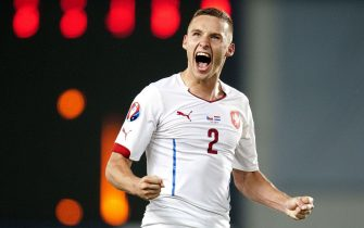 PRAGUE, CZECH REPUBLIC - SEPTEMBER 09: Pavel Kaderabek of Czech Republic celebrates after scoring a goal during the UEFA EURO 2016 Group A Qualifier between Czech Republic and Netherlands at Generali Arena on September 9, 2014 in Prague, Czech Republic. (Photo by isifa/Michal Ruzicka)/ISIFA_1705.11/Credit:MAFRA/ISIFA/SIPA/1409101714