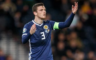 epa07831275 Andy Robertson of Scotland during the UEFA Euro 2020 Group I qualifying soccer match between Scotland and Belgium at Hampden Park in Glasgow, Britain, 09 September 2019.  EPA/ROBERT PERRY
