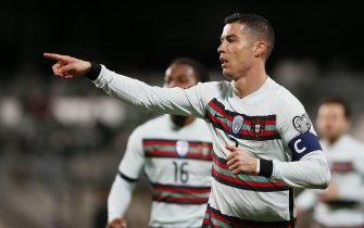epa09107471 Portugal's Cristiano Ronaldo reacts during the FIFA World Cup 2022 qualifying soccer match between Luxembourg and Portugal in Luxembourg, 30 March 2021.  EPA/Julien Warnand