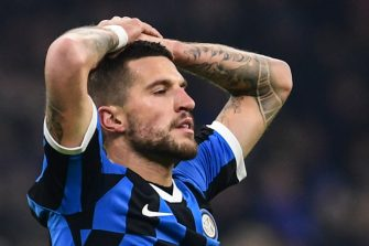 Inter Milan's Italian defender Cristiano Biraghi reacts after missing a goal opportunity during the Italian Serie A football match Inter Milan vs AS Rome on December 6, 2019 at the San Siro stadium in Milan. (Photo by Miguel MEDINA / AFP) (Photo by MIGUEL MEDINA/AFP via Getty Images)