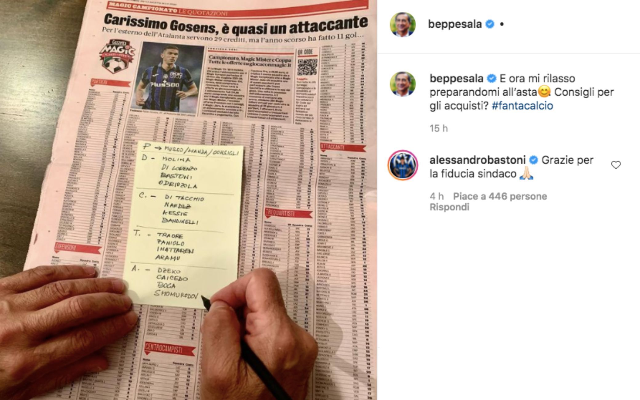 Il post di Sala su Instagram con il commento di Bastoni