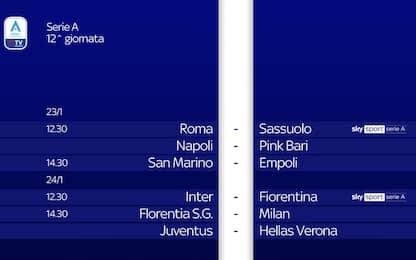 Serie A femminile, calendario e orari 12^ giornata