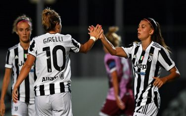 VINOVO, ITALY - AUGUST 12:  Cristiana Girelli (L) of Juventus Women celebrates the opening goal with team mate Agnese Bonfantini during the Pre-Season Friendly match between Juventus Women and Pomigliano Women at Juventus Center Vinovo on August 12, 2021 in Vinovo, Italy.  (Photo by Valerio Pennicino - Juventus FC/Juventus FC via Getty Images)