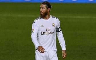 Sergio Ramos of Real Madrid during the La Liga match between Real Madrid and RCD Mallorca played at Alfredo Di Stefano Stadium on June 24, 2020 in Madrid, Spain.