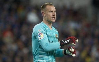 Marc-Andre Ter Stegen of FC Barcelona  during the La Liga match, date 26, between Real Madrid and FC Barcelona at Santiago Bernabeu Stadium on March 1, 2020 in Madrid, Spain.