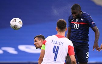 France's defender Dayot Upamecano heads the ball to score during the UEFA Nations League Group C football match between France and Croatia on September 8, 2020  at the Stade de France in Saint-Denis, near Paris. (Photo by FRANCK FIFE / AFP) (Photo by FRANCK FIFE/AFP via Getty Images)