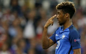 epa05368067 Kingsley Coman of France reacts during the UEFA EURO 2016 group A preliminary round match between France and Albania at Stade Velodrome in Marseille, France, 15 June 2016.