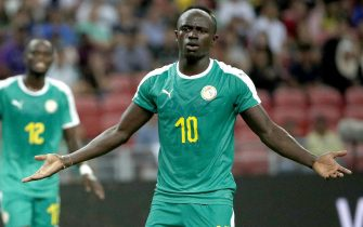 epa07910464 Sadio Mane of Senegal reacts during an international friendly match at the National Stadium in Singapore, 10 October 2019.  EPA/WALLACE WOON