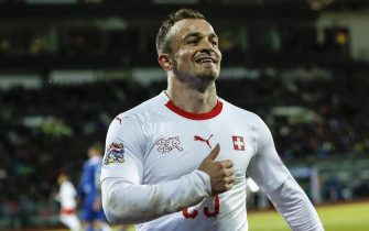epa07095991 Switzerland's Xherdan Shaqiri reacts during the UEFA Nations League soccer match between Iceland and Switzerland at the Laugardalsvoellur stadium in Reykjavik, Iceland, 15 October 2018.  EPA/HANNA ANDRESDOTTIR