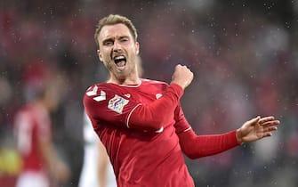 epa07008459 Christian Eriksen of Denmark celebrates scoring the  2-0 lead during the UEFA Nations LeagueE match Denmark vs Wales in Aarhus, Denmark, 09 September 2018.  EPA/Bo Amstrup  DENMARK OUT