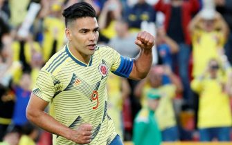 epa07623492 Colombia's Falcao celebrates a goal during a friendly match between the national soccer teams of Colombia and Panama, at El Campin stadium, in Bogota, Colombia, 03 June 2019.  EPA/Mauricio Duenas Castaneda