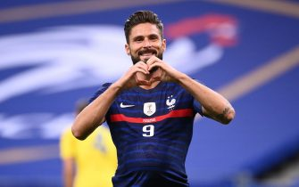 France's forward Olivier Giroud celebrates after scoring a goal during the International friendly football match between France and Ukraine, on October 7, 2020 in Saint-Denis, outside Paris. (Photo by FRANCK FIFE / AFP) (Photo by FRANCK FIFE/AFP via Getty Images)