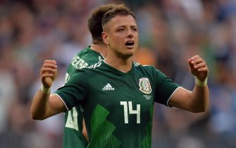 epa06816507 Javier Hernandez of Mexico reacts after winning the FIFA World Cup 2018 group F preliminary round soccer match between Germany and Mexico in Moscow, Russia, 17 June 2018.(RESTRICTIONS APPLY: Editorial Use Only, not used in association with any commercial entity - Images must not be used in any form of alert service or push service of any kind including via mobile alert services, downloads to mobile devices or MMS messaging - Images must appear as still images and must not emulate match action video footage - No alteration is made to, and no text or image is superimposed over, any published image which: (a) intentionally obscures or removes a sponsor identification image; or (b) adds or overlays the commercial identification of any third party which is not officially associated with the FIFA World Cup)  EPA/PETER POWELL   EDITORIAL USE ONLY  EDITORIAL USE ONLY