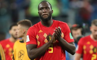 epa06879111 Romelu Lukaku of Belgium reacts after the FIFA World Cup 2018 semi final soccer match between France and Belgium in St.Petersburg, Russia, 10 July 2018. Belgium lost the match 0-1.