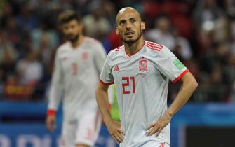 epa06825534 David Silva of Spain reacts during the FIFA World Cup 2018 group B preliminary round soccer match between Iran and Spain in Kazan, Russia, 20 June 2018.