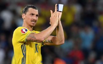Zlatan Ibrahimovic of Sweden reacts at the end of the UEFA EURO 2016 group E preliminary round match between Sweden and Belgium at Stade de Nice in Nice, France, 22 June 2016.