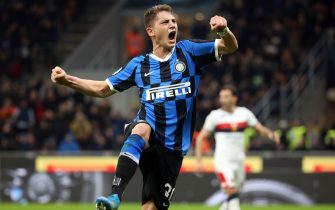 Inter Milan's Sebastiano Esposito jubilates after scoring on penalty goal of 3 to 0 during the Italian serie A soccer match  Fc Inter and Genoa Cfc  at Giuseppe Meazza stadium in Milan, 21 December  2019.ANSA / MATTEO BAZZI