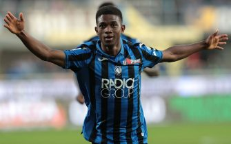 BERGAMO, ITALY - OCTOBER 27:  Amad Traore of Atalanta BC celebrates his goal during the Serie A match between Atalanta BC and Udinese Calcio at Gewiss Stadium on October 27, 2019 in Bergamo, Italy.  (Photo by Emilio Andreoli/Getty Images)