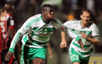Saint Etienne's defender Kurt Zouma celebrates after scoring a goal during the French L1 football match Nice vs. Saint-Etienne, on November 19, 2011 at the Ray stadium in Nice. AFP PHOTO VALERY HACHE (Photo credit should read VALERY HACHE/AFP via Getty Images)