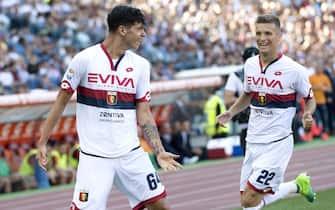 Genoa's Pietro Pellegri (L) jubilates with Genoas Darko Lazovic after scoring the 0-1 goal during Totti's last soccer match between as Roma and Genoa at Olimpico Stadium in Rome, 28 May 2017. ANSA/CLAUDIO PERI