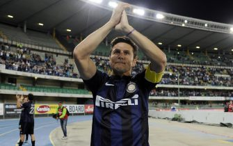 FC Inter's defender and captain, Javier Zanetti, waves his supporters at the end of the Italian Serie A soccer match AC Chievo Verona vs FC Inter at Bentegodi stadium in Verona, Italy, 18 May 2014.