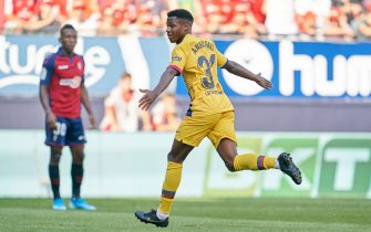 Ansu Fati of FC Barcelona celebrates after scoring during the match CA Osasuna v FC Barcelona, of LaLiga 2019/2019 season, date 3. El Sadar Stadium. Pamplona, Spain, 31 Aug 2019.
