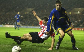 SUNDERLAND - DECEMBER 26:  James Milner of Leeds clashes with Kevin Kilbane of Sunderland during the FA Barclaycard Premiership match between Sunderland and Leeds United at the Stadium of Light on December 26, 2002 in Sunderland, England. (Photo by Gary M. Prior/Getty Images)