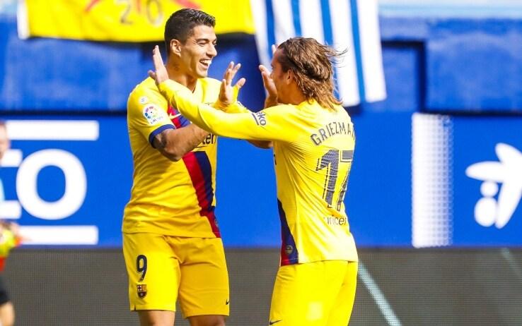 Eibar-Barcellona 3-0, in gol Griezmann, Messi e Suarez