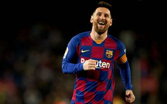 BARCELONA, SPAIN - NOVEMBER 09: Lionel Messi of FC Barcelona celebrates their team's third goal during the Liga match between FC Barcelona and RC Celta de Vigo at Camp Nou on November 09, 2019 in Barcelona, Spain. (Photo by Quality Sport Images/Getty Images)