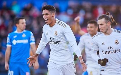 Varane trascina il Real, Getafe battuto 3-0