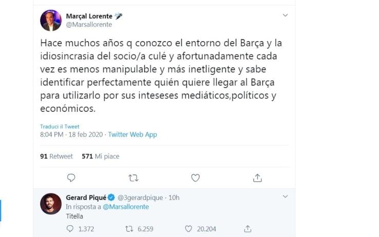 """Piqué al giornalista su Twitter: """"Marionetta"""""""