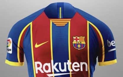 Strisce e giallo, la nuova maglia del Barça. FOTO