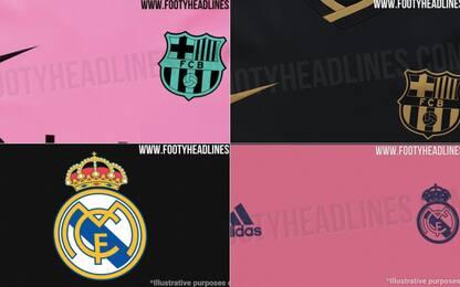 Nero&rosa, le nuove maglie di Barça e Real. FOTO