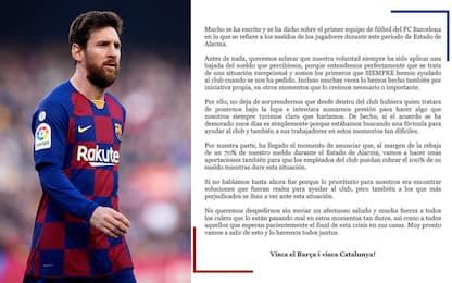 """Messi: """"Noi del Barça ci taglieremo lo stipendio"""""""