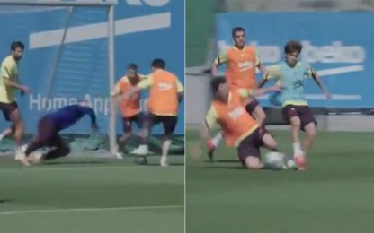 Messi, che carica! Tackle e gol suola-tiro. VIDEO
