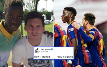 Da sogno a realtà, oggi Moriba gioca con Messi