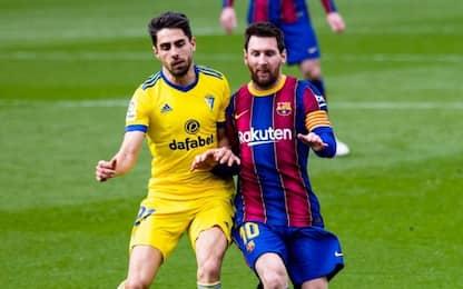 Barcellona, non basta Messi: 1-1 con il Cadice