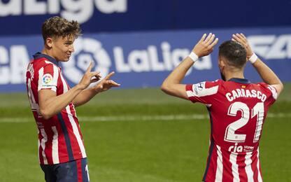 L'Atletico torna primo: Huesca ko 2-0, Real a -3