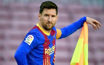 Lionel Messi of FC Barcelona  during the La Liga match between FC Barcelona and Atletico de Madrid played at Camp Nou Stadium on May 8, 2021 in Barcelona, Spain. (Photo by Sergio Ruiz / PRESSINPHOTO)