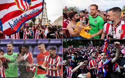 Atletico campione, festa in campo e a Madrid. FOTO