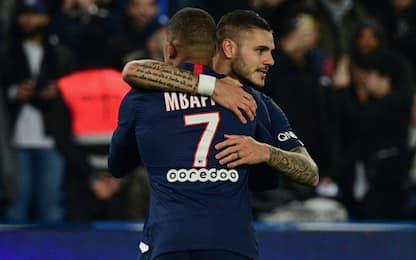 Doppiette Icardi e Mbappé: Psg-Marsiglia 4-0
