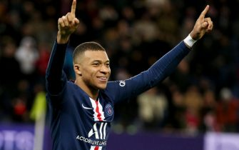 PARIS, FRANCE - FEBRUARY 29: Kylian Mbappe of PSG celebrates his second goal during the Ligue 1 match between Paris Saint-Germain (PSG) and Dijon FCO at Parc des Princes stadium on February 29, 2020 in Paris, France. (Photo by Jean Catuffe/Getty Images)