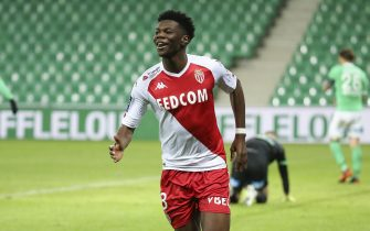 Aurelien Tchouameni of Monaco celebrates his goal during the French championship Ligue 1 football match between AS Saint-Etienne (ASSE) and AS Monaco (ASM) on March 19, 2021 at Stade Geoffroy Guichard in Saint-Etienne, France - Photo Jean Catuffe / DPPI / LiveMedia