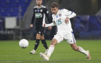 Bruno GUIMARAES of Lyon during the French Cup, round of 64 football match between Olympique Lyonnais and AC Ajaccio on February 9, 2021 at Groupama Stadium in Décines-Charpieu near Lyon, France - Photo Romain Biard / Isports / DPPI / LiveMedia
