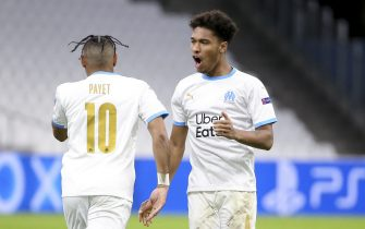 Dimitri Payet of Marseille celebrates his first goal on a penalty kick with Boubacar Kamara during the UEFA Champions League, Group C football match between Olympique de Marseille (OM) and Olympiacos FC (Olympiakos) on December 1, 2020 at Stade Velodrome in Marseille, France - Photo Jean Catuffe / DPPI / LM