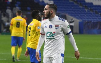 Lyon's French forward Rayan Cherki (L) celebrates scoring during the French Cup round-of-32 football match between Lyon (OL) and Sochaux (FCSM) at The Groupama Stadium in Decines-Charpieu, near Lyon, central-eastern France on March 6, 2021.//ALLILIMOURAD_allili910/2103071042/Credit:Mourad ALLILI/SIPA/2103071044