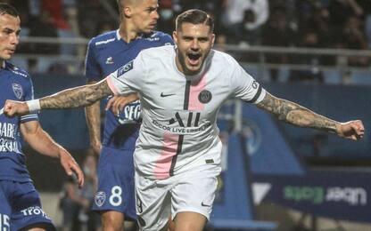 Hakimi-Icardi, Psg buona la prima: Troyes ko 2-1