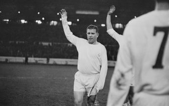 Hungarian footballer Ferenc Puskas (1927 - 2006) of Real Madrid leads the team out to play Chelsea at Stamford Bridge, London, 22nd November 1966.  (Photo by Robert Stiggins/Express/Hulton Archive/Getty Images)